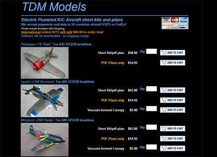 TDM Models - R/C electric aircraft plans nad kits